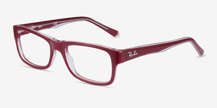 Ray-Ban RB5268 Red Acetate Eyeglass Frames from EyeBuyDirect, Angle View