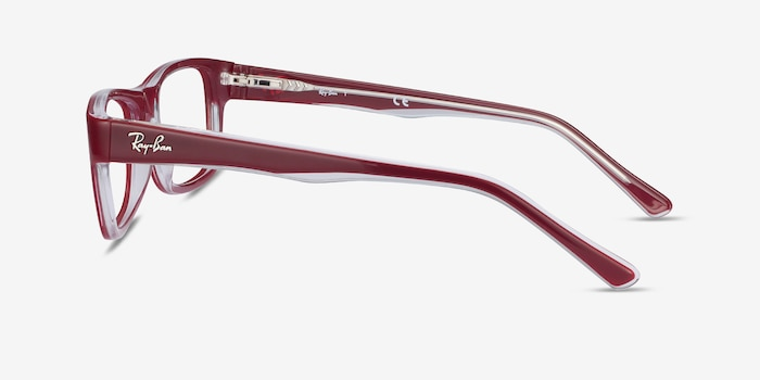Ray-Ban RB5268 Red Acetate Eyeglass Frames from EyeBuyDirect, Side View