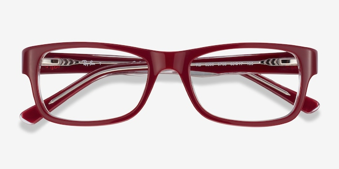 Ray-Ban RB5268 Red Acetate Eyeglass Frames from EyeBuyDirect, Closed View