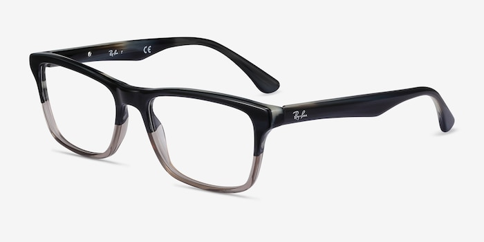 Ray-Ban RB5279 Black & Gray Acetate Eyeglass Frames from EyeBuyDirect, Angle View