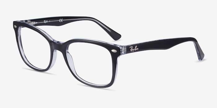 Ray-Ban RB5285 Black Acetate Eyeglass Frames from EyeBuyDirect, Angle View