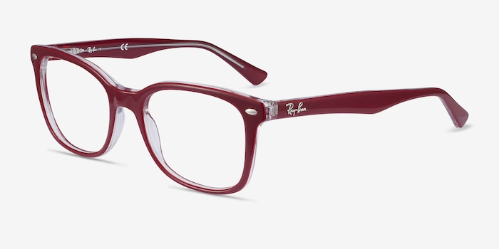 Ray-Ban RB5285 Burgundy Acetate Eyeglass Frames from EyeBuyDirect, Angle View