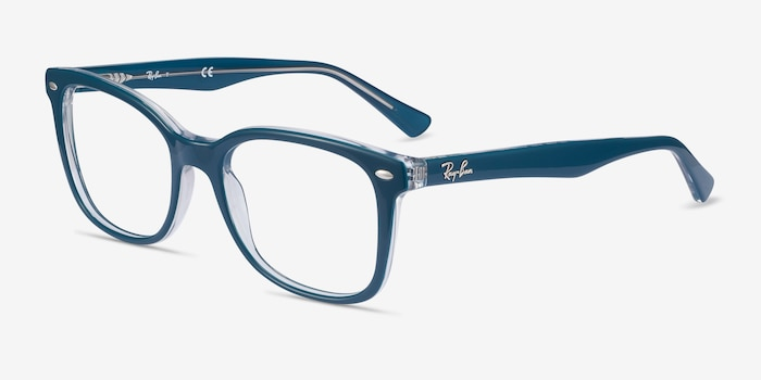 Ray-Ban RB5285 Blue Acetate Eyeglass Frames from EyeBuyDirect, Angle View