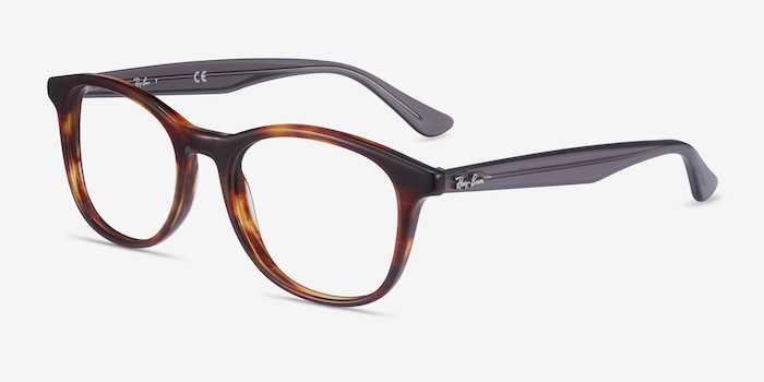 Ray-Ban RB5356 Tortoise & Gray Acetate Eyeglass Frames from EyeBuyDirect, Angle View