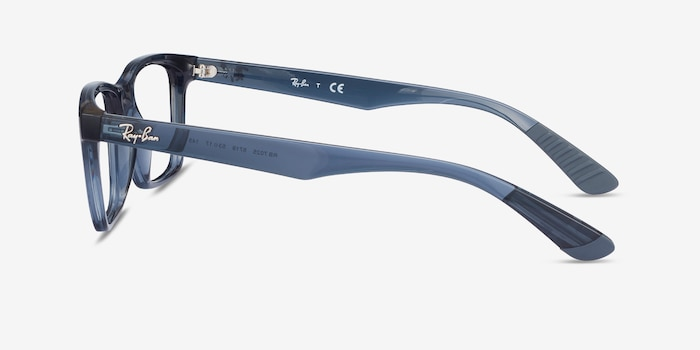 Ray-Ban RB7025 Blue Plastic Eyeglass Frames from EyeBuyDirect, Side View