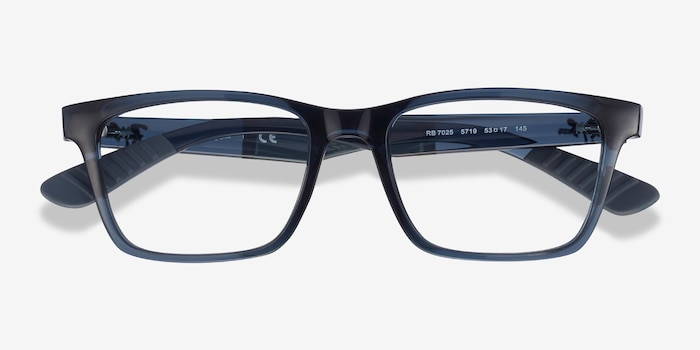 Ray-Ban RB7025 Blue Plastic Eyeglass Frames from EyeBuyDirect, Closed View