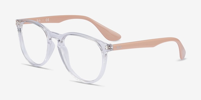Ray-Ban RB7046 Clear & Pink Beige Plastic Eyeglass Frames from EyeBuyDirect, Angle View