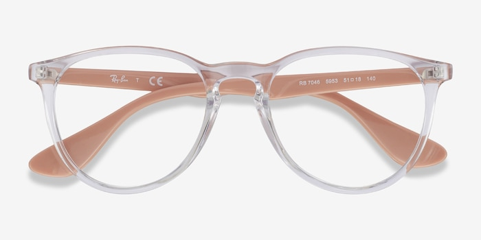 Ray-Ban RB7046 Clear & Pink Beige Plastic Eyeglass Frames from EyeBuyDirect, Closed View