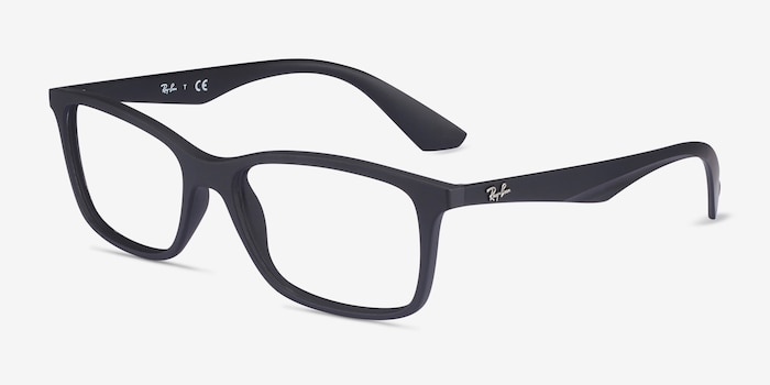 Ray-Ban RB7047 Black Plastic Eyeglass Frames from EyeBuyDirect, Angle View