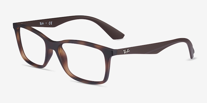 Ray-Ban RB7047 Tortoise Brown Plastic Eyeglass Frames from EyeBuyDirect, Angle View