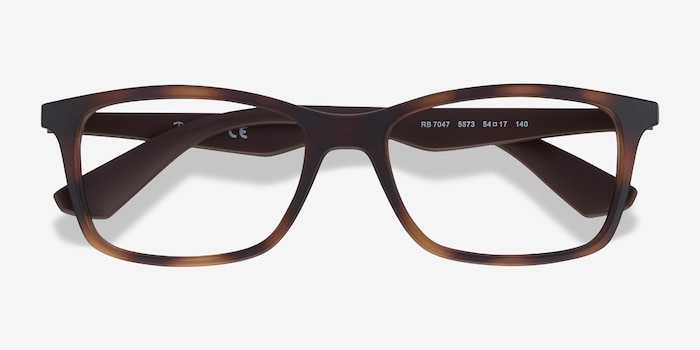 Ray-Ban RB7047 Tortoise Brown Plastic Eyeglass Frames from EyeBuyDirect, Closed View