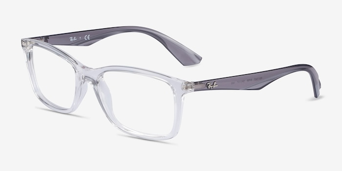 Ray-Ban RB7047 Clear & Gray Plastic Eyeglass Frames from EyeBuyDirect, Angle View