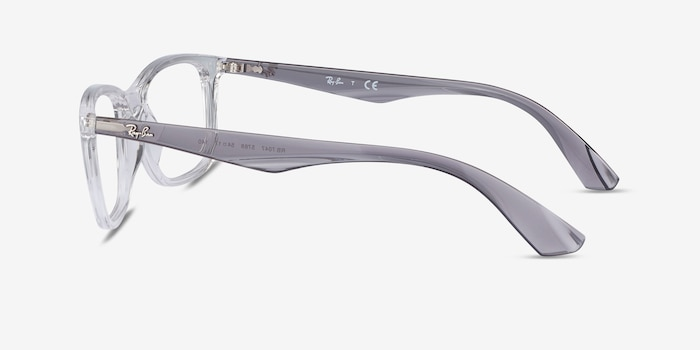 Ray-Ban RB7047 Clear & Gray Plastic Eyeglass Frames from EyeBuyDirect, Side View