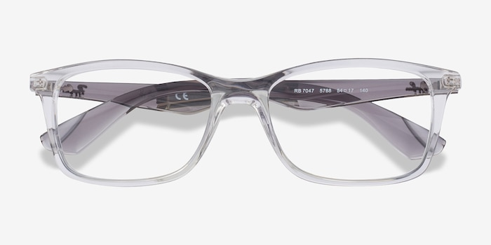 Ray-Ban RB7047 Clear & Gray Plastic Eyeglass Frames from EyeBuyDirect, Closed View