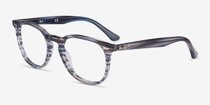 Ray-Ban RB7159 Blue Plastic Eyeglass Frames from EyeBuyDirect, Angle View
