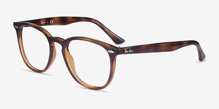 Ray-Ban RB7159 Tortoise Plastic Eyeglass Frames from EyeBuyDirect, Angle View