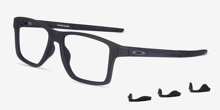 Oakley Chamfer Squared Satin Black Plastic Eyeglass Frames from EyeBuyDirect, Angle View