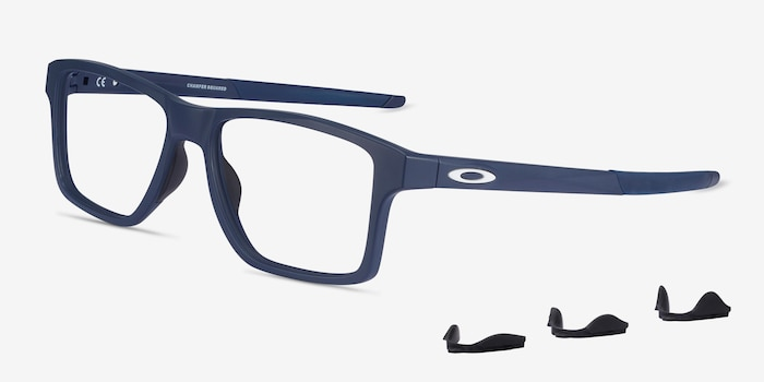 Oakley Chamfer Squared Universe Blue Plastic Eyeglass Frames from EyeBuyDirect, Angle View