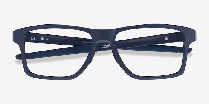 Oakley Chamfer Squared Universe Blue Plastic Eyeglass Frames from EyeBuyDirect, Closed View