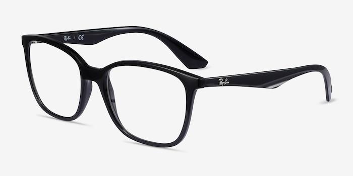 Ray-Ban RB7066 Black Plastic Eyeglass Frames from EyeBuyDirect, Angle View