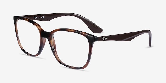 Ray-Ban RB7066 Tortoise Brown Plastic Eyeglass Frames from EyeBuyDirect, Angle View