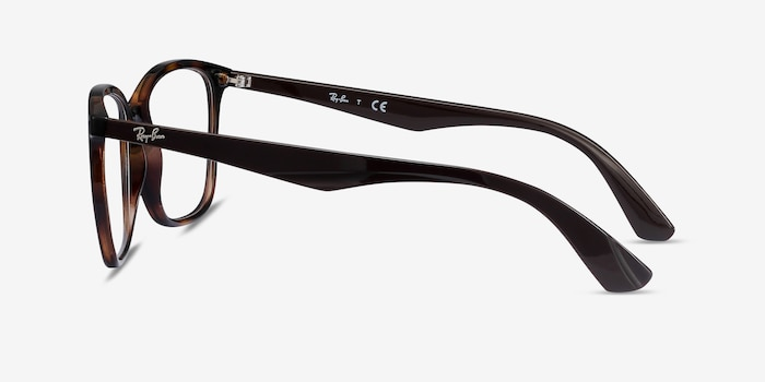 Ray-Ban RB7066 Tortoise Brown Plastic Eyeglass Frames from EyeBuyDirect, Side View