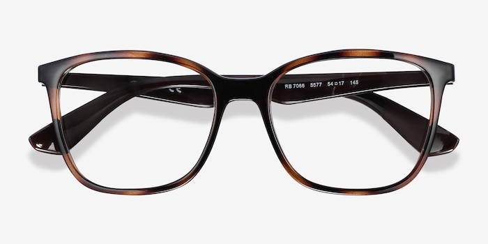 Ray-Ban RB7066 Tortoise Brown Plastic Eyeglass Frames from EyeBuyDirect, Closed View