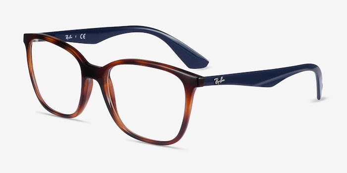 Ray-Ban RB7066 Tortoise Blue Plastic Eyeglass Frames from EyeBuyDirect, Angle View