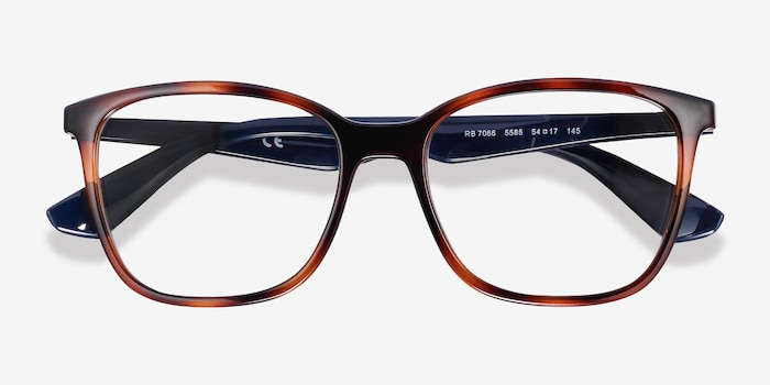 Ray-Ban RB7066 Tortoise Blue Plastic Eyeglass Frames from EyeBuyDirect, Closed View