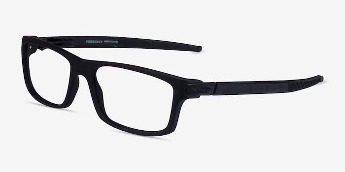 Oakley Currency Satin Black Plastic Eyeglass Frames from EyeBuyDirect, Angle View