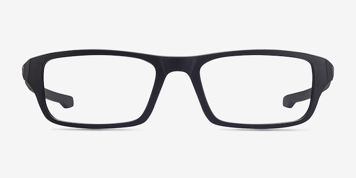 Oakley Chamfer Satin Black Plastic Eyeglass Frames from EyeBuyDirect, Front View
