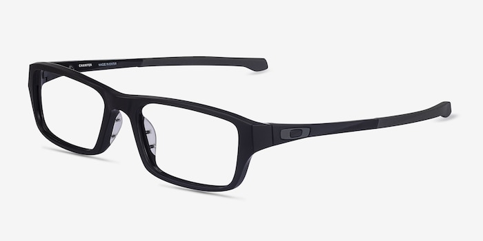 Oakley Chamfer Satin Black Plastic Eyeglass Frames from EyeBuyDirect, Angle View