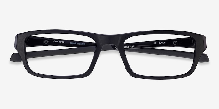 Oakley Chamfer Satin Black Plastic Eyeglass Frames from EyeBuyDirect, Closed View