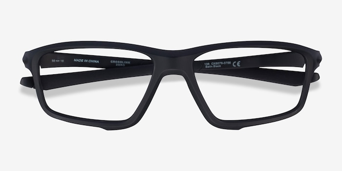 Oakley Crosslink Zero Satin Black Plastic Eyeglass Frames from EyeBuyDirect, Closed View