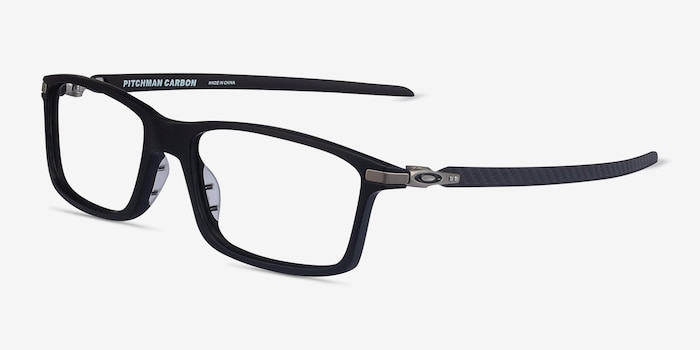 Oakley Pitchman Carbon Satin Black Plastic Eyeglass Frames from EyeBuyDirect, Angle View