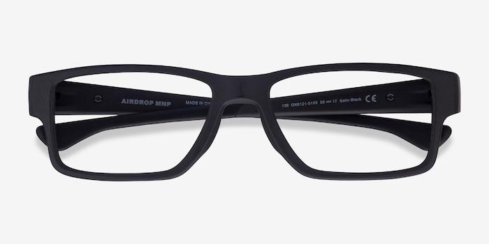 Oakley Airdrop Mnp Satin Black Plastic Eyeglass Frames from EyeBuyDirect, Closed View