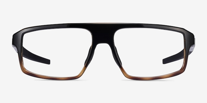 Oakley Cogswell Polished Black Brown Tortoise Plastic Eyeglass Frames from EyeBuyDirect, Front View