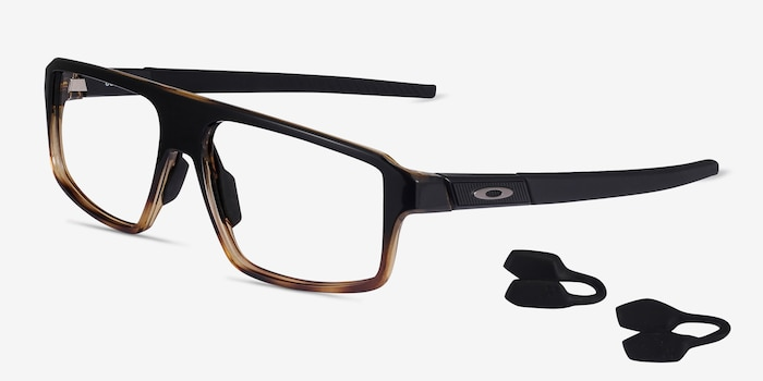 Oakley Cogswell Polished Black Brown Tortoise Plastic Eyeglass Frames from EyeBuyDirect, Angle View
