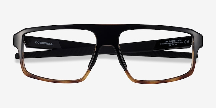 Oakley Cogswell Polished Black Brown Tortoise Plastic Eyeglass Frames from EyeBuyDirect, Closed View