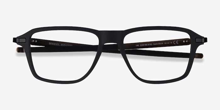 Oakley Wheel House Satin Black Plastic Eyeglass Frames from EyeBuyDirect, Closed View