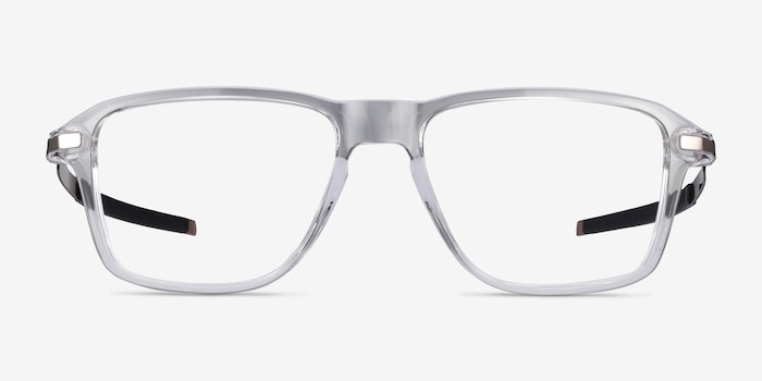 Oakley Wheel House Polished Clear Plastic Eyeglass Frames from EyeBuyDirect, Front View