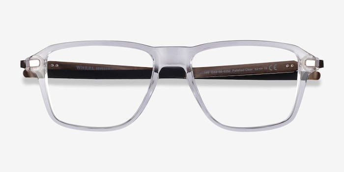Oakley Wheel House Polished Clear Plastic Eyeglass Frames from EyeBuyDirect, Closed View