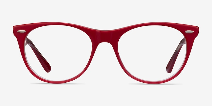 Ray-Ban RB2185V Red Transparent Acetate Eyeglass Frames from EyeBuyDirect, Front View