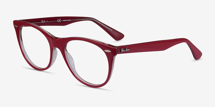 Ray-Ban RB2185V Red Transparent Acetate Eyeglass Frames from EyeBuyDirect, Angle View