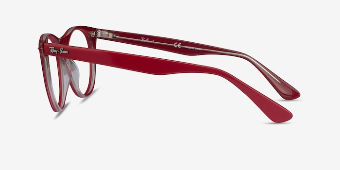 Ray-Ban RB2185V Red Transparent Acetate Eyeglass Frames from EyeBuyDirect, Side View
