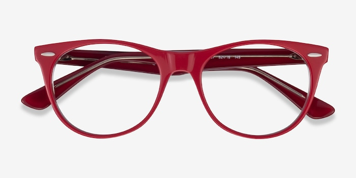 Ray-Ban RB2185V Red Transparent Acetate Eyeglass Frames from EyeBuyDirect, Closed View