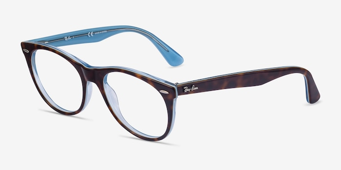 Ray-Ban RB2185V Tortoise Blue Acetate Eyeglass Frames from EyeBuyDirect, Angle View