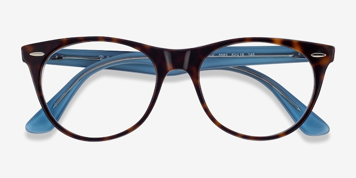 Ray-Ban RB2185V Tortoise Blue Acetate Eyeglass Frames from EyeBuyDirect, Closed View