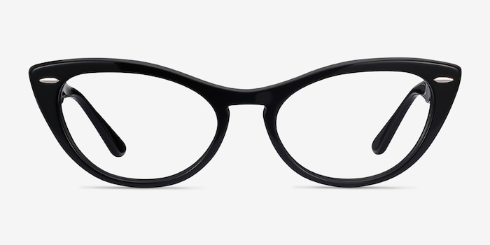 Ray-Ban Nina Black Acetate Eyeglass Frames from EyeBuyDirect, Front View