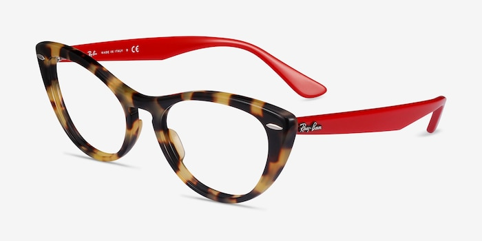 Ray-Ban Nina Tortoise Red Acetate Eyeglass Frames from EyeBuyDirect, Angle View